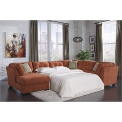 Ashley Delta City 3 Piece Left Sleeper Sectional in Rust