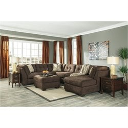 Ashley Delta City 4 Piece Right Sectional in Chocolate