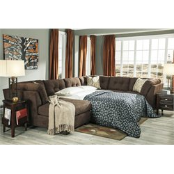 Ashley Delta City 3 Piece Left Sleeper Sectional in Chocolate