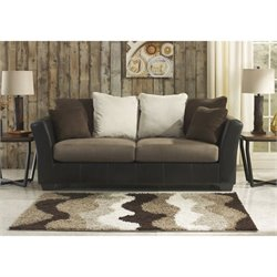 Ashley Masoli Faux Leather Sofa in Mocha