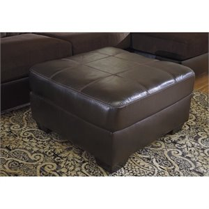 Ashley Vanleer Faux Leather Oversized Ottoman in Chocolate
