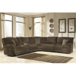 Ashley Pivot Point 6 Piece Power Reclining Sectional in Truffle