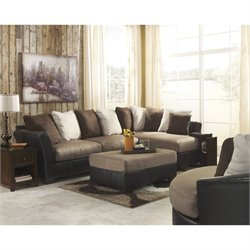Ashley Masoli Right Faux Leather Sectional with Ottoman and Swivel Chair in Mocha