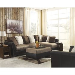 Ashley Masoli Right Faux Leather Sectional with Ottoman and Oversize Chair in Mocha