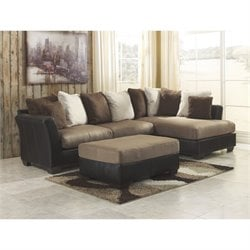 Ashley Masoli Corner Sectional with Ottoman in Mocha