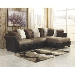 Ashley Masoli Right Corner Faux Leather Sectional in Mocha