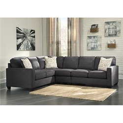 Ashley Alenya Left Corner Sectional with Armless Chair in Charcoal