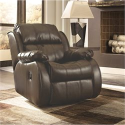 Ashley Mollifield Leather Rocker Recliner in Cafe