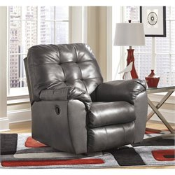 Ashley Alliston Leather Rocker Recliner in Gray