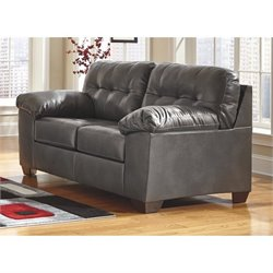 Ashley Alliston Leather Loveseat in Gray