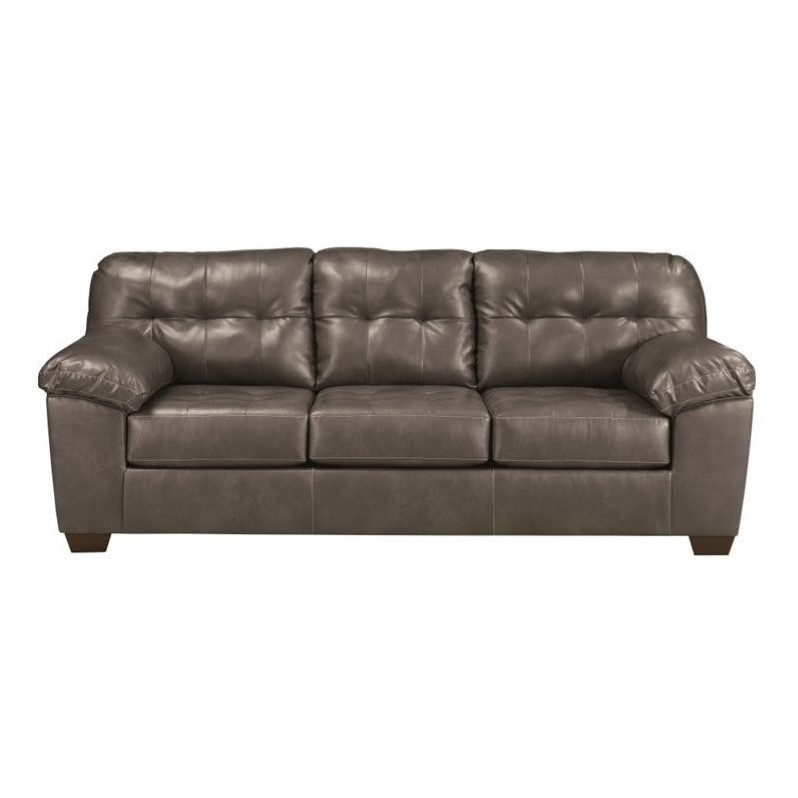 Ashley Furniture Alliston Leather Sofa in Gray