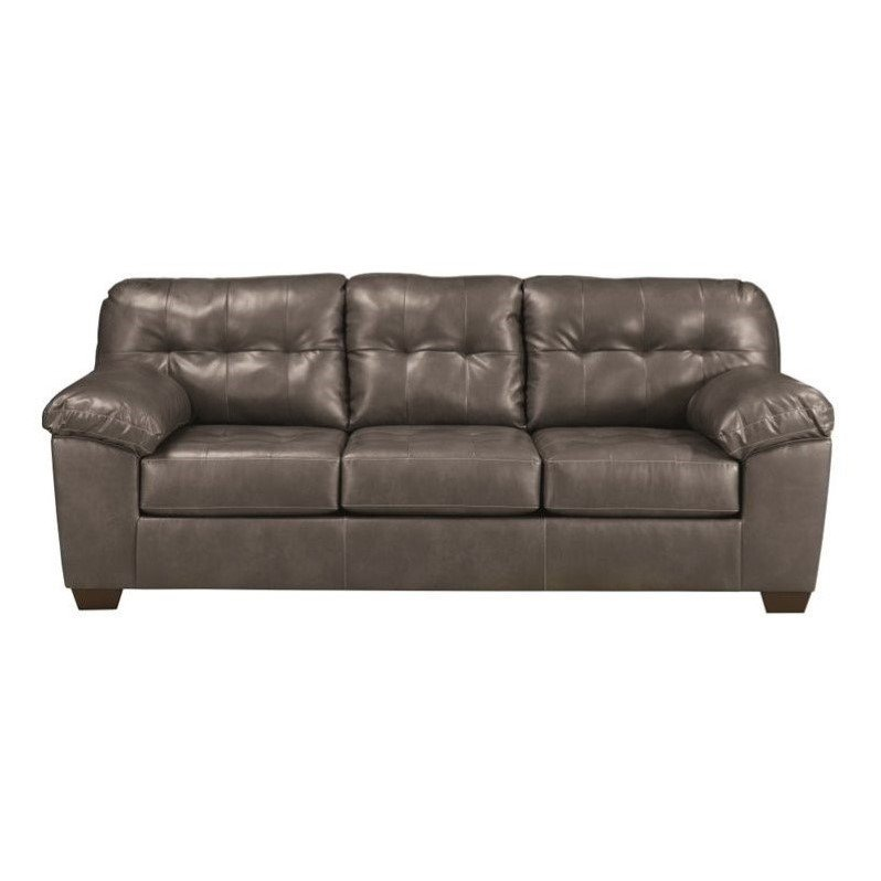 Ashley Furniture Alliston Leather Sofa in Gray - 2010238