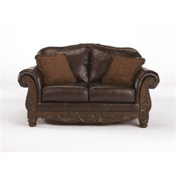 Ashley Furniture North Shore Leather Loveseat in Dark Brown