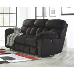 Ashley Saul Fabric Reclining Sofa in Black