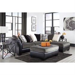 Ashley Armant Right Chaise Sectional with Ottoman in Ebony