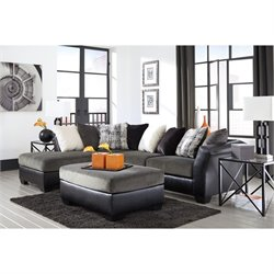 Ashley Armant Left Chaise Sectional with Ottoman in Ebony