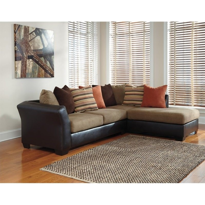 ashley armant right chaise sectional in mocha 20202 66