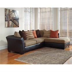 Ashley Armant Right Chaise Sectional in Mocha