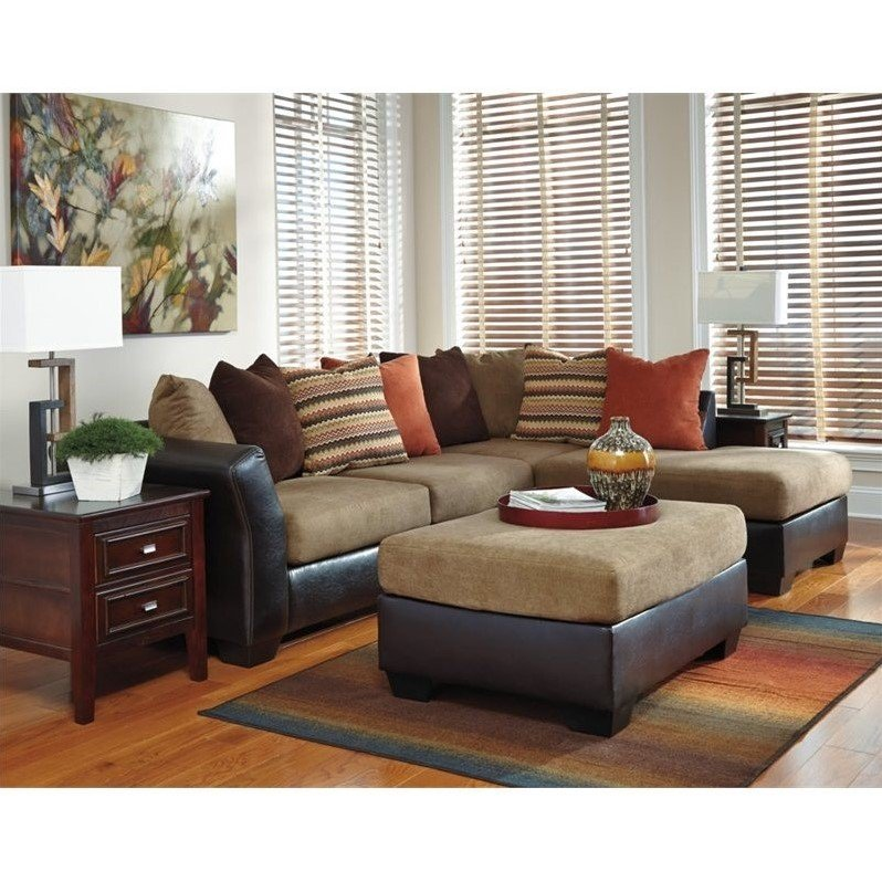 ashley armant right chaise sectional with ottoman in mocha