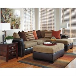 Armant Chaise Sectional with Ottoman in Mocha