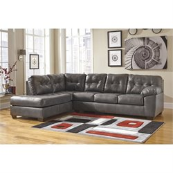 Ashley Alliston Leather Left Facing Sectional in Gray