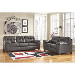 Ashley Alliston 2 Piece Leather Sofa Set in Gray