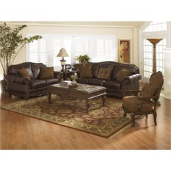 Ashley North Shore 3 Piece Leather Sofa Set with Chair in Dark Brown
