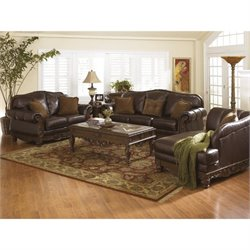 Ashley North Shore 3 Piece Leather Sofa Set with Chaise in Dark Brown