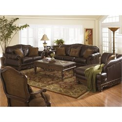 Ashley North Shore 4 Piece Leather Sofa Set in Dark Brown