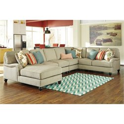 Ashley Kerridon 5 Piece Fabric Left Chaise Sectional in Putty