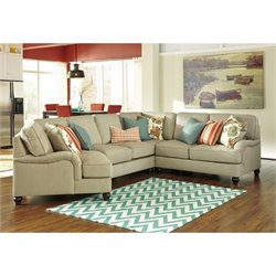 Ashley Kerridon 4 Piece Fabric Left Cuddler Sectional in Putty