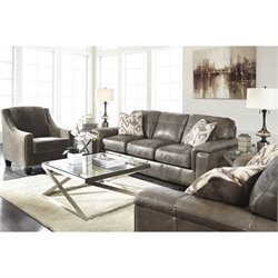 Ashley Donnell 3 Piece Leather Sofa Set in Granite