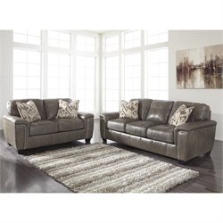 Ashley Donnell 2 Piece Leather Sofa Set in Granite