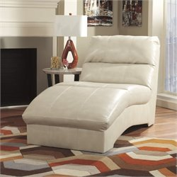 Ashley Paulie Leather Chaise Lounge in Taupe