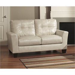 Ashley Paulie Leather Loveseat in Taupe
