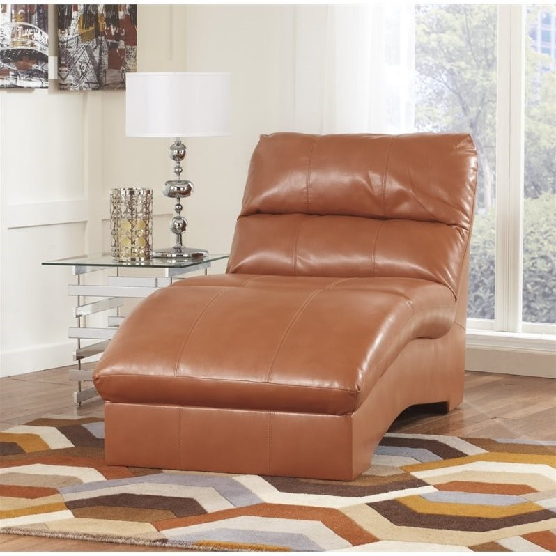 Ashley paulie leather chaise lounge in orange 2700215 for Ashley chaise lounge
