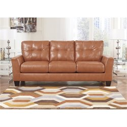 Ashley Furniture Paulie Leather Sofa in Orange