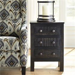 Ashley Charlowe 3 Drawer Wood Nightstand in Black