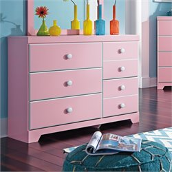 Ashley Bronett 5 Drawer Wood Dresser in Pink
