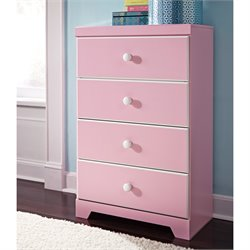Ashley Bronett 4 Drawer Wood Chest in Pink