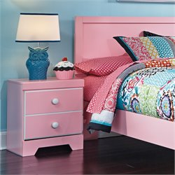 Ashley Bronett 1 Drawer Wood Nightstand in Pink