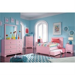 Ashley Bronett 7 Piece Wood Twin Panel Bedroom Set in Pink