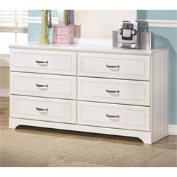 Ashley Lulu 6 Drawer Wood Double Dresser in White