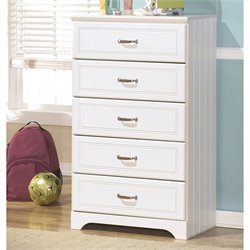 Ashley Lulu 5 Drawer Wood Chest in White