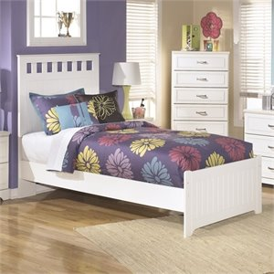 Lulu Wood Panel Bed in White