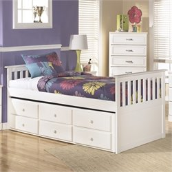 Ashley Lulu Wood Twin Captain's Bed in White