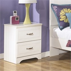 Ashley Lulu 2 Drawer Wood Nightstand in White