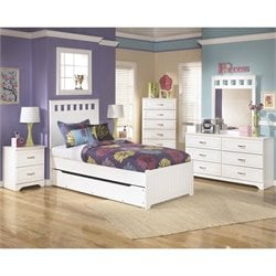 Ashley Lulu 7 Piece Wood Twin Panel Bedroom Set in White