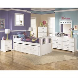 Ashley Lulu 6 Piece Wood Twin Captain's Bedroom Set in White