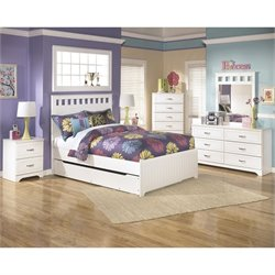Ashley Lulu 7 Piece Wood Full Panel Bedroom Set in White